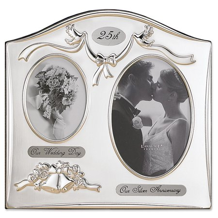 Satin Silver and Brass Plated 2 Opening Picture Frame - 25th Anniversary Design