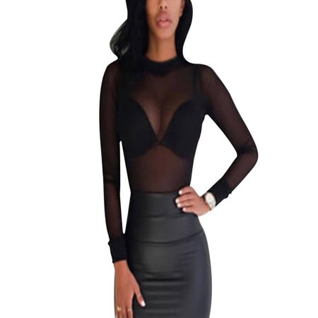 346ff9b877d6cd Esho - Women Sheer Mesh Net Tee T-Shirt Long Sleeve Sexy Crop Top Slim  Blouse - Walmart.com