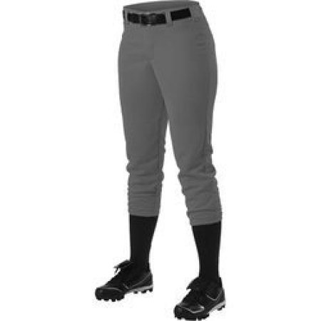 Alleson Athletic Womens Softball - Alleson Girl's Fastpitch Pants - Charcoal - Small with Alleson Athletic Girl's Belt Loop Softball Pants - Grey - Small