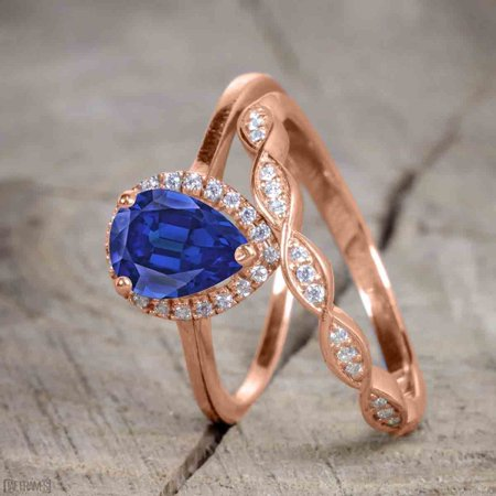 White Gold Semi Set - 1.50 Carat Pear Cut Sapphire and Diamond Bridal Ring Set with Semi Eternity Wedding Band in Rose Gold