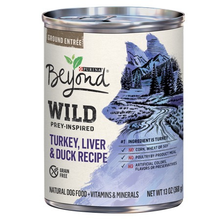 Purina Beyond WILD Prey-Inspired Grain Free, High Protein Turkey, Liver & Duck Pate Recipe Wet Dog Food - (12) 13 oz.