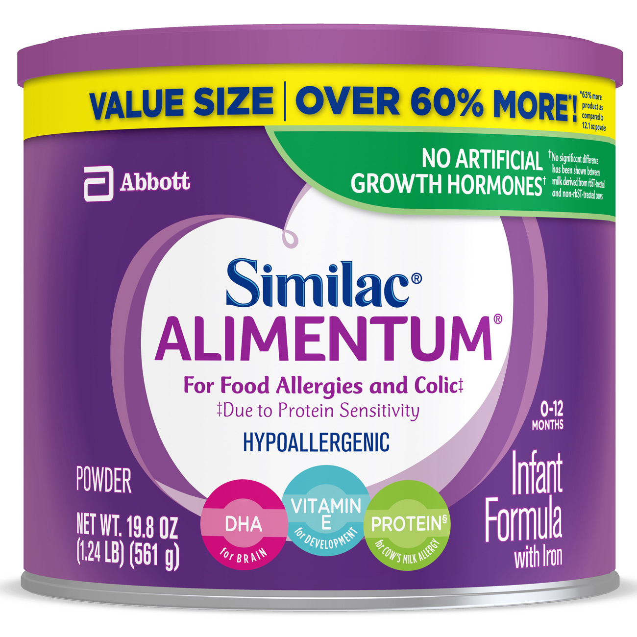 Similac Alimentum Hypoallergenic (4 Pack) Baby Formula for Food Allergies and Colic, Value Size, Powder, 19.8 oz