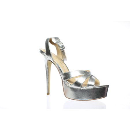 Chinese Laundry Womens Alyssa Silver Metallic Ankle Strap Heels Size 9