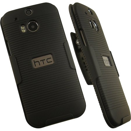 HTC One M8 Case with Clip, Nakedcellphone Ribbed Black Hard Cover with Rotating/Ratchet Belt Hip Holster Combo for HTC One M8 Phone