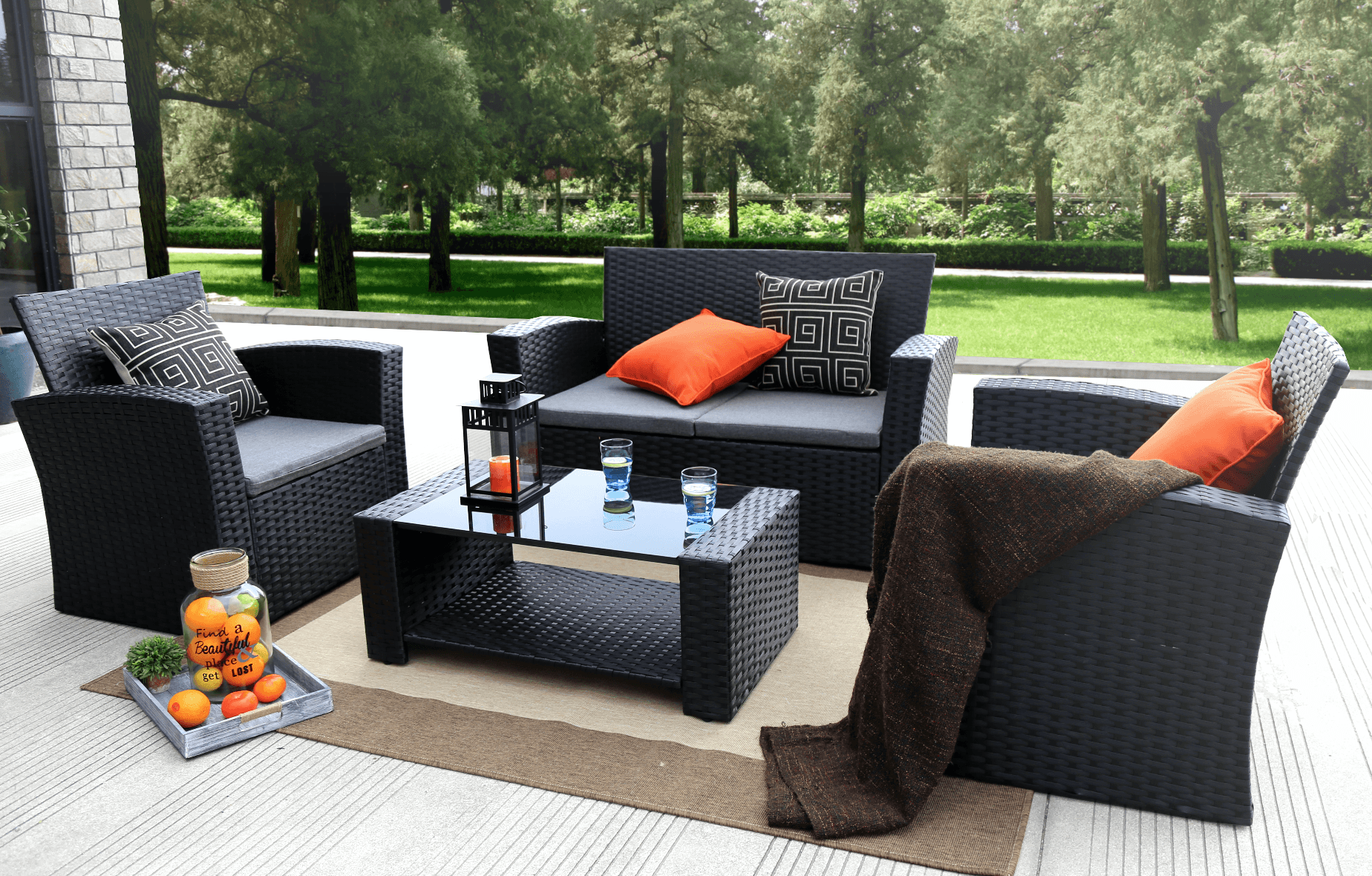 Baner Garden Outdoor Furniture Complete Patio Wicker Rattan Garden Set,  Black, 4 Pieces