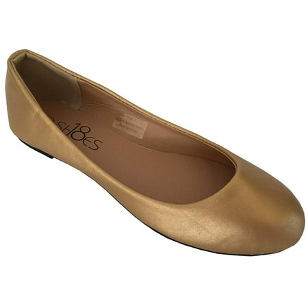 Shoes 18 Womens Ballerina Ballet Flat Shoes Solids & Leopards (11, Gold PU 8600)