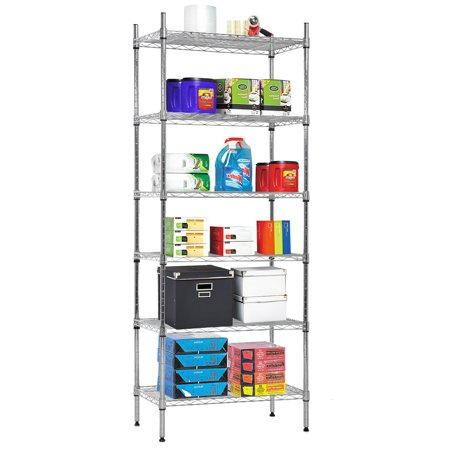 Nsf Wire Shelf Organizer 6 Wire Shelving Unit Metal Storage Shelves, Utility Commercial Grade Heavy Duty Height Adjustable Leveling Feet Steel Layer Shelf Rack For Kitchen Bathroom Office,Chrome
