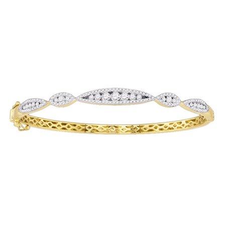 10k Yellow Gold Womens Round Diamond Bangle Bracelet 1.00 Cttw