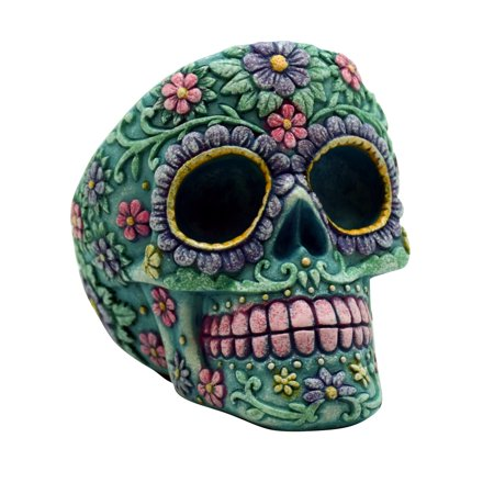 Aqua Pink Day of the Dead Sugar Skull Tall Ashtray Mexican Dia De Los Muertos - Dia De Los Muertos Cat