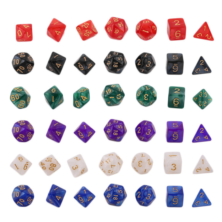 Bright Color 7 Pcs Set Creative Multi-Faceted Pearl Gemmed Acrylic Dice green