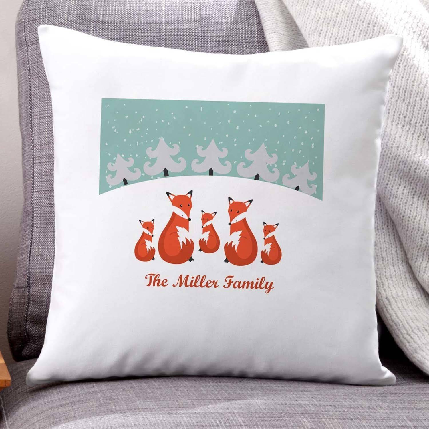 Personalized Fox Family in Snow Pillow
