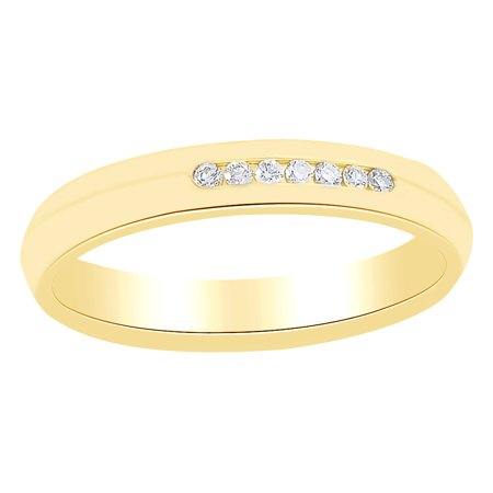 White Natural Diamond Knife Edge Comfort Fit Band Ring 14K Solid Yellow Gold (0.1 Ct)