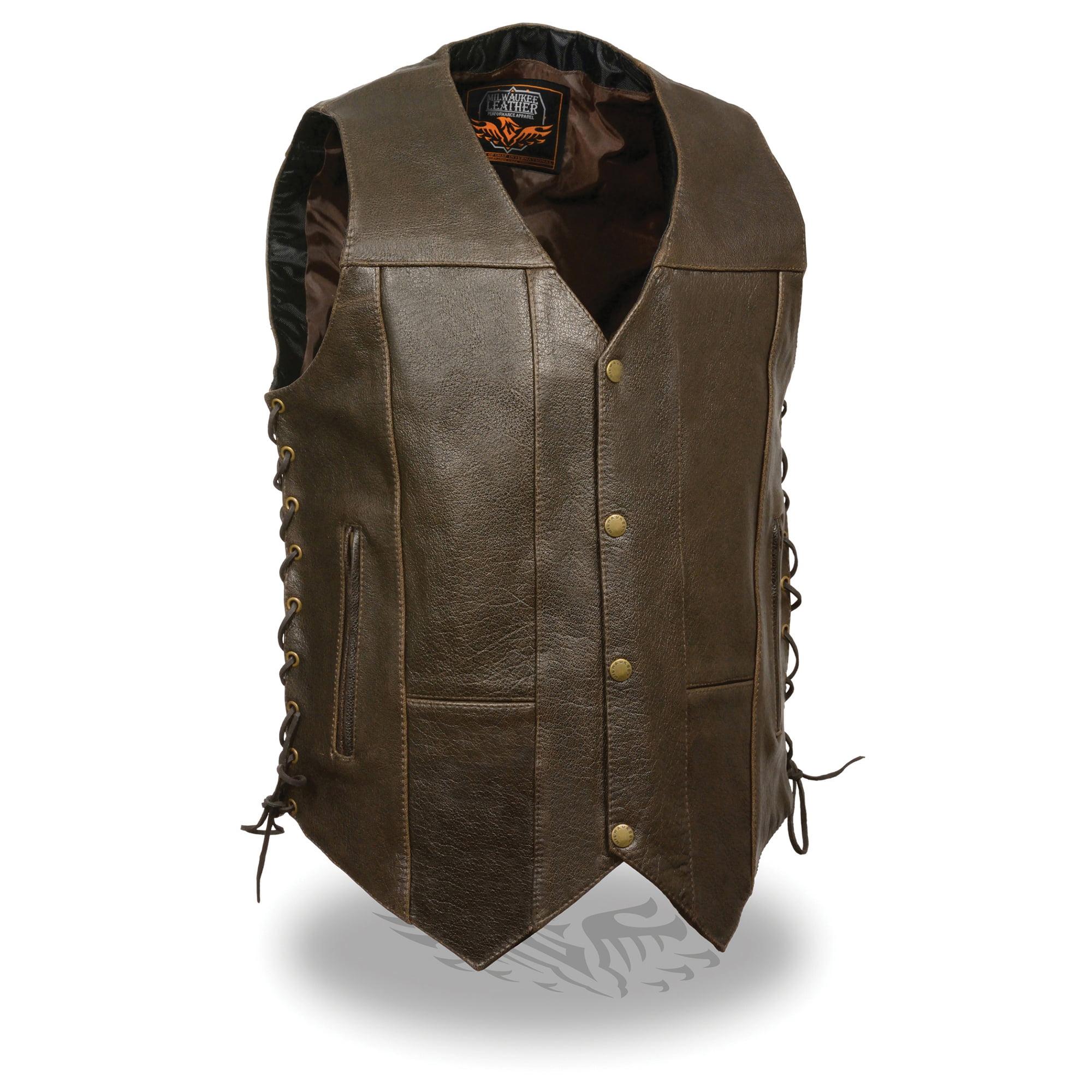 Mens Retro Leather 10 Pocket Side Lace Vest