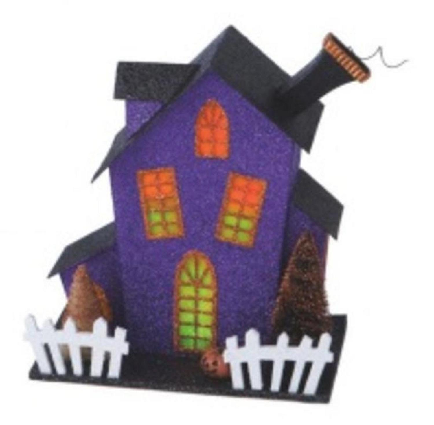"""11"""" Glitter Drenched Black, Orange and Purple Lighted Haunted Fun House Halloween Decoration"""