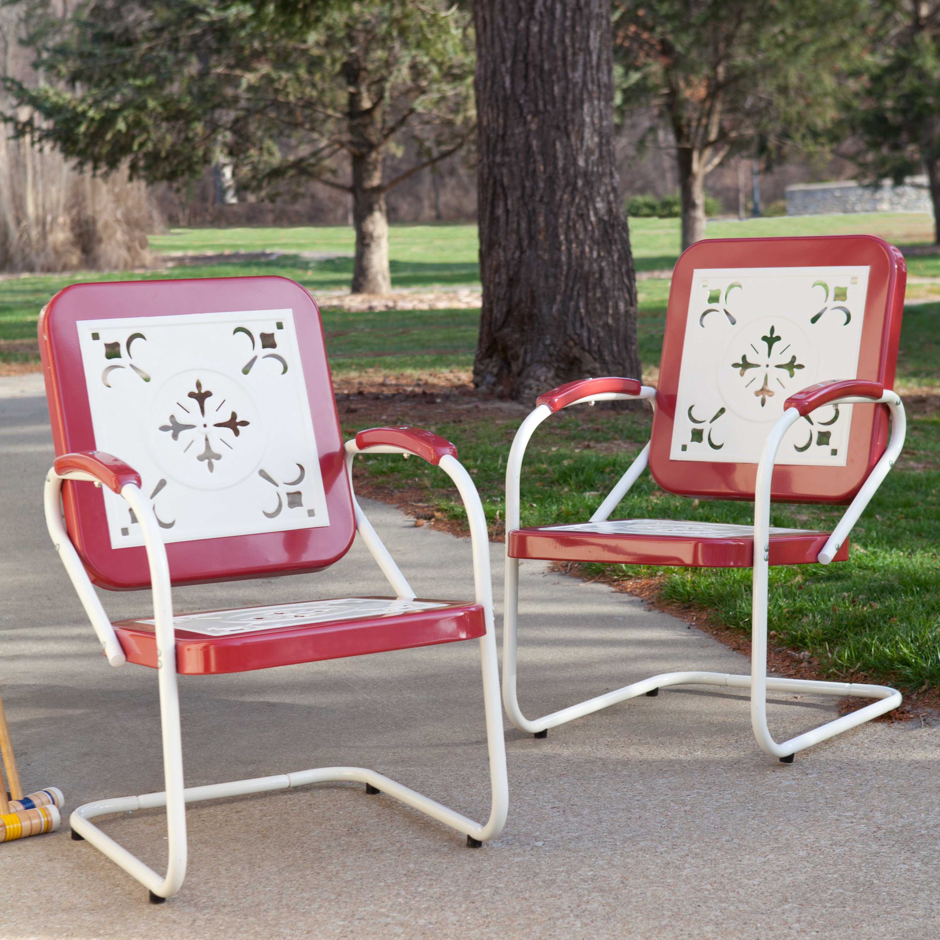 Coral Coast Paradise Cove Retro Metal Armchairs Set of 2 by Chi Wing Rattan Factory