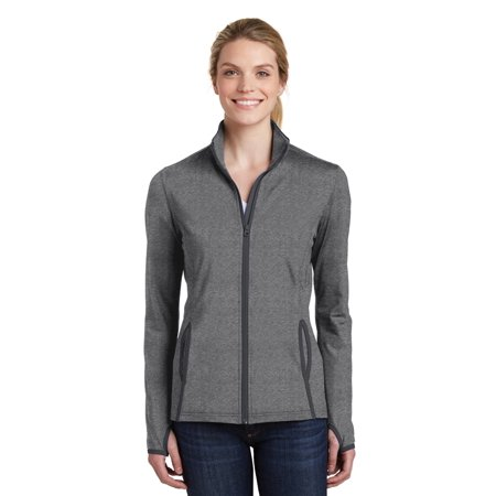 Sport-Tek® Ladies Sport-Wick® Stretch Contrast Full-Zip Jacket.  Lst853 Charcoal - image 1 de 1