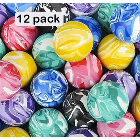 High Bouncing Marble Balls - 12 Pack Assorted 2 Tone Colors - Premium Designs – Great Toy, Party Favor, Prize, Gift – By (Assorted Designs Pack)