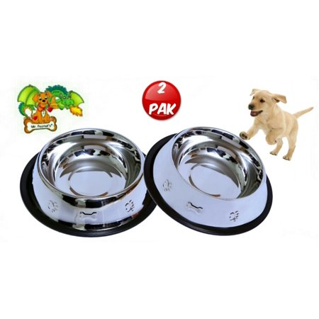 Set of 2 Etched Food Grade Stainless Steel Dog Bowls, 32oz Dry Weight, Dishwasher Safe, Bacteria & Rust Resistant, with Non-Skid No-Tip Natural Rubber Base, Odor Free Alternative to (Tip Bowl)