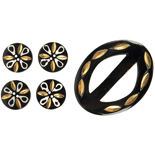 Vision Trims Handmade Horn Buckle/Buttons 5 Pieces/Pkg-Black/Gold/White Multi-Colored