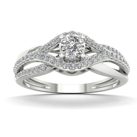 1/3ct TDW Diamond 10K White Gold Bypass Engagement (Brass Engagement Ring)