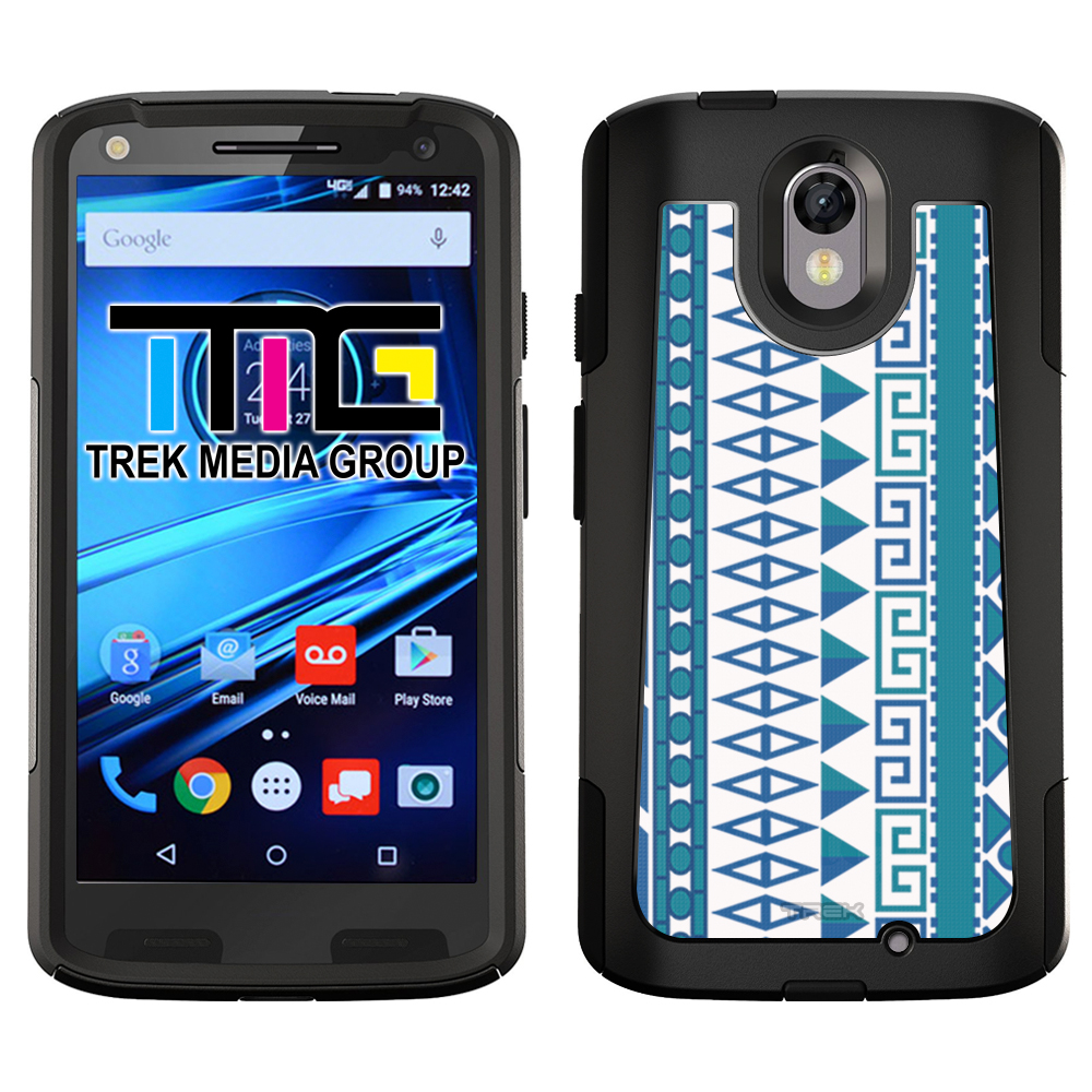 SKIN DECAL FOR OtterBox Commuter Motorola Droid Turbo 2 Case - Aztec Vertical Blue Aqua on White DECAL, NOT A CASE