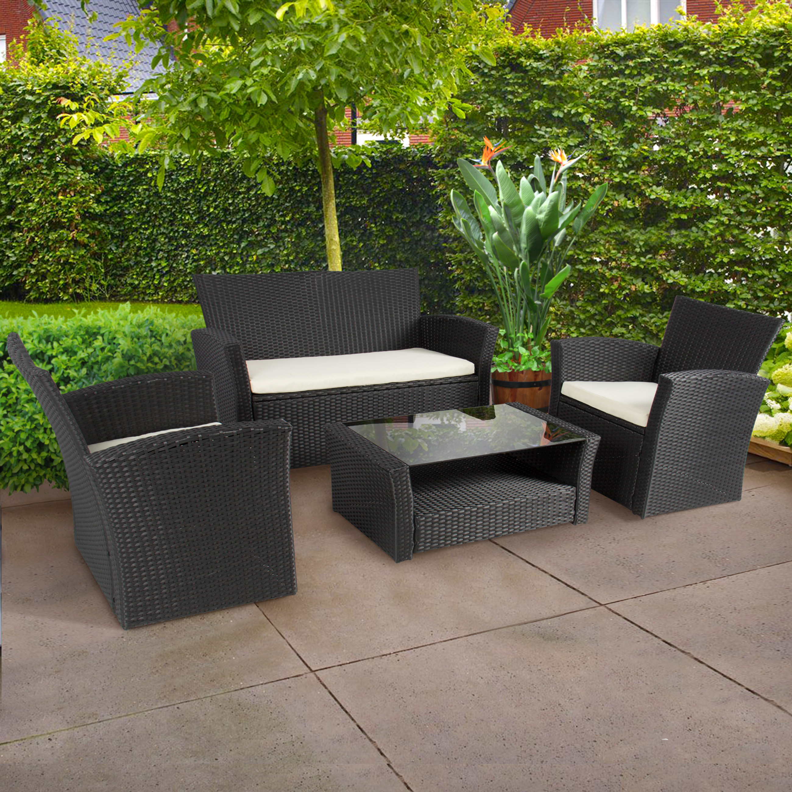 4pc Outdoor Patio Garden Furniture Wicker Rattan Sofa Set Black    Walmart.com