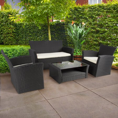 4pc Outdoor Patio Garden Furniture Wicker Rattan Sofa Set Black by