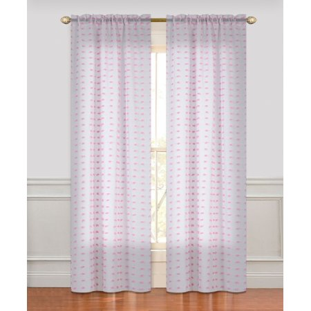Dainty Home Cut Flower Linen-Look Semi-Sheer with 3D Flowers Rod Pocket Window Curtain Panel Pair