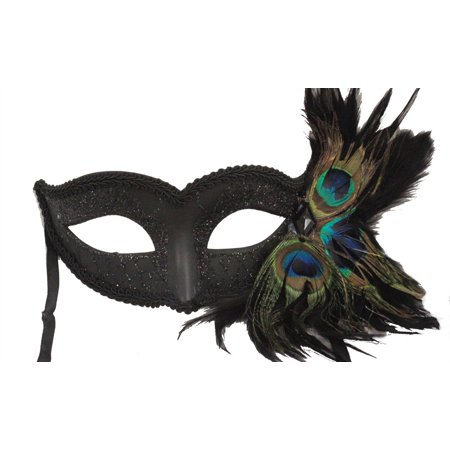 BLACK MASQUERADE MASK - Venetian - PEACOCK FEATHERS - Black Masquerade Masks