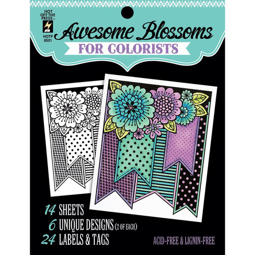 "Hot Off The Press Colorist Coloring Book, 5"" x 6"", Awesome Blossoms"