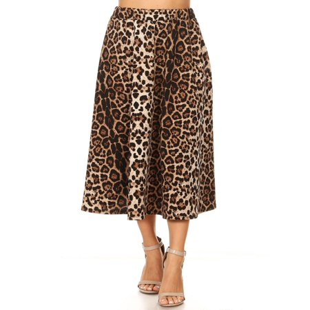 MOA COLLECTION Women's Regular Plus Size Pattern Print High Waist A-line Pleat Midi Skirt/Made in USA