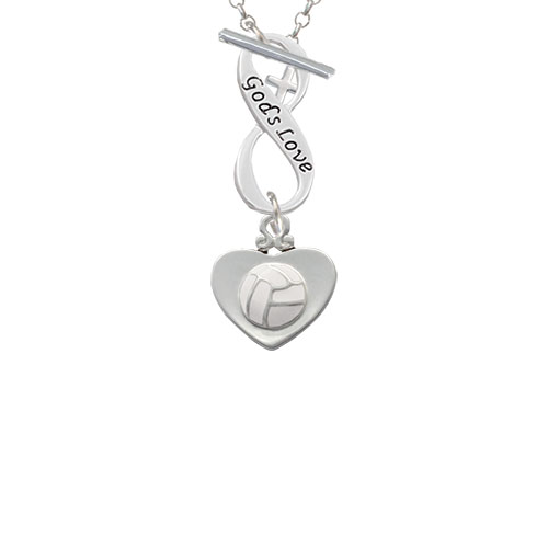Volleyball in Heart God's Love Infinity Toggle Chain Necklace
