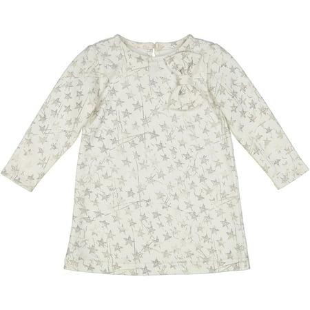 Newborn Baby Girl Navy Cream Star Knit Shift Dress - Star Girl Fancy Dress