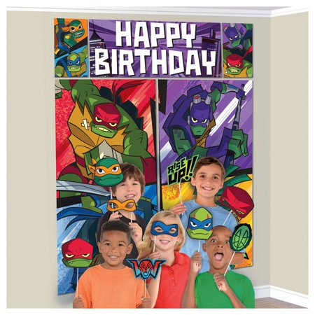 Rise of the TMNT Scene Setter Wall Decoration With Photo - Halloween Wall Scene Setters