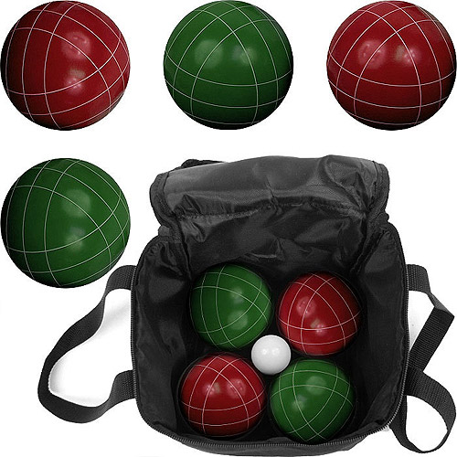 Bocce Ball Set- Red and Green Balls, Pallino, and Carrying Case by Hey! Play!