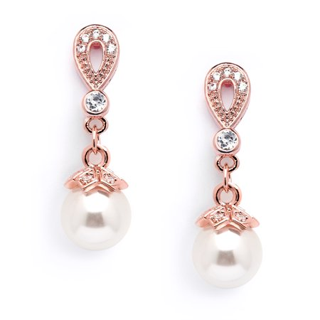 Mariell Rose Gold Vintage Art Deco Glass Pearl Drop Earrings with Pave CZ for Wedding, Bride & Bridesmaid Art Deco Rhinestone Earrings