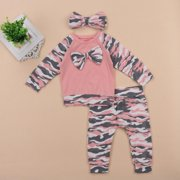 Newborn Baby Girl Boy Romper Top Long Pants Headband Clothes Set Outfit