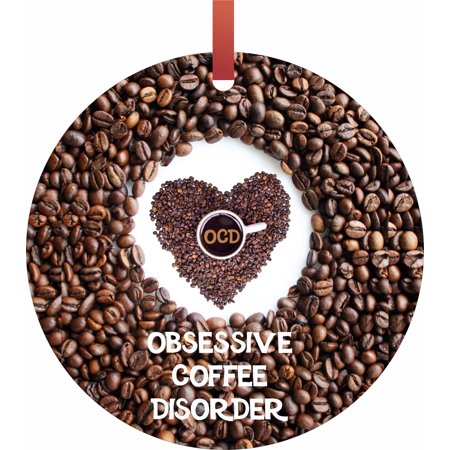 Obsessive Coffee Disorder - TM - Flat Round-Shaped Holiday Tree Ornament Made in the USA ()
