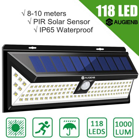 AUGIENB Solar Powered Super Bright 118 LED Light Garden Outdoor Motion Patio Lights Sensor Wall Lights Security