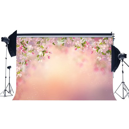 HelloDecor Polyster 7x5ft Photography Backdrop Cherry Blossom Flowers Bokeh Halos Glitter Polka Dots Pink Romantic Backdrops for Baby Adults Princess Lover Portraits Background Photo Studio Props - Princess Background