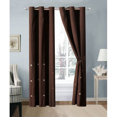 4-Pc Western Star Embroidery Curtain Set Brown Chocolate Metal Grommet Sheer Liner Drape