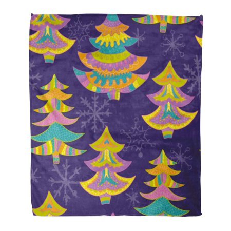 ASHLEIGH Throw Blanket 58x80 Inches Blue Amusing Cartoon Motley Christmas Trees Winter Holidays Green Celebration Warm Flannel Soft Blanket for Couch Sofa Bed Winter Blues Light Therapy
