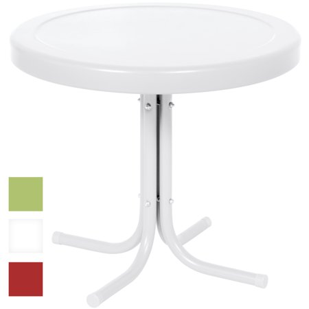 Best Choice Products 22in Modern Round Metal Side Table w/ UV and Weather Resistant Finish - White Metal Side Table