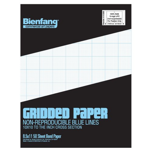 Bienfang Designer Grid Paper 8-1//2-Inch by 11-Inch Pad 50 Sheets 10 by 10