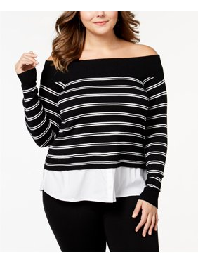 aa952f7956d Product Image Inc International Concepts - Layered-Look Off-the-Shoulder  Sweater - Plus Size