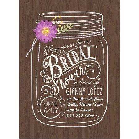 Wedding Shower Invites.Floral Mason Jar Standard Bridal Shower Invitation