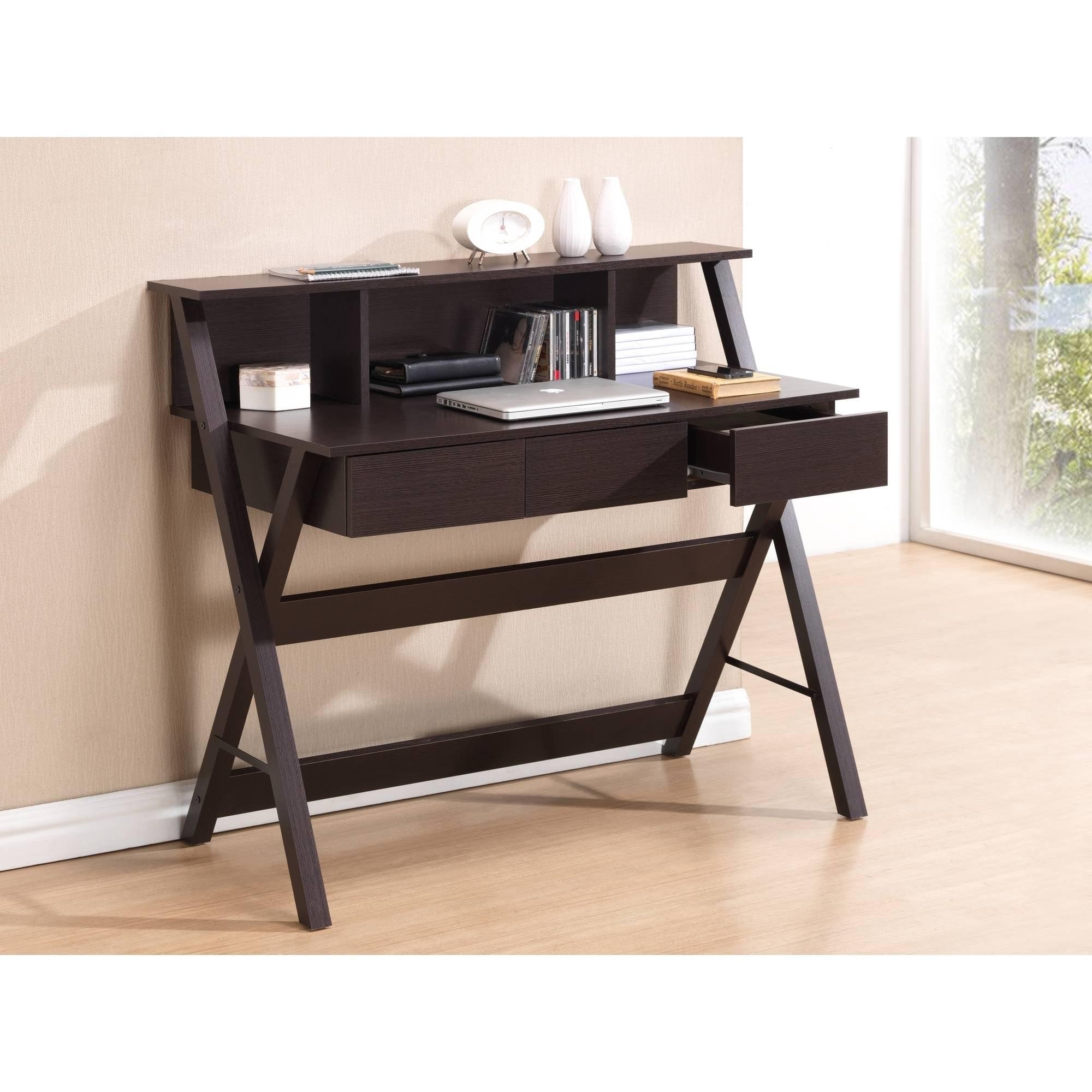 Techni Mobili 3-Drawer Writing Desk with Storage Shelf, Wenge (RTA-8400-WN)