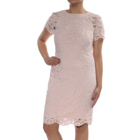 RALPH LAUREN Womens Pink Lace Short Sleeve Jewel Neck Above The Knee Sheath Cocktail Dress  Size: 6](Pink Cocktail)