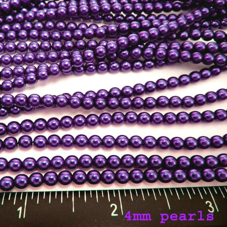 4mm Round Faux Pearl Beads - UnCommon Artistry Glass Pearl Beads 200pcs 4mm - Royal Purple