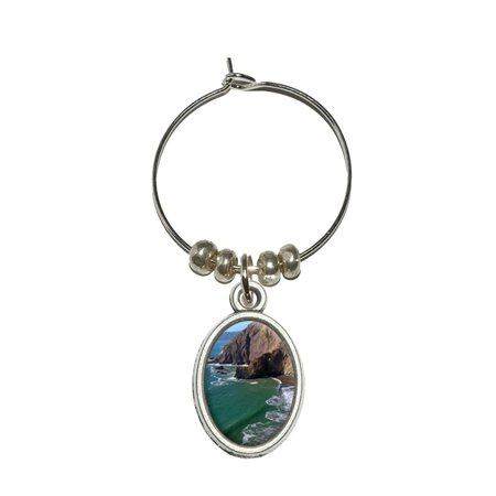 Tennessee Cove - California Pacific Ocean Shore Beach Oval Wine Glass Charm